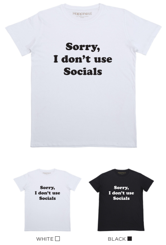 T-shirt Uomo - I don't use Socials - Happiness Shop Online