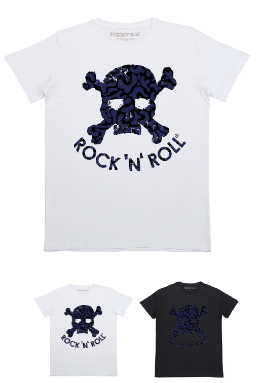 T-shirt Uomo - RNR Teschio Blu Animalier - Happiness Shop Online