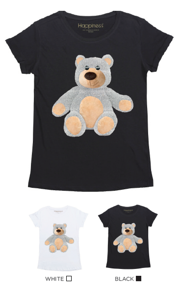 T-Shirt Bimba - Teddy - Strass - Happiness Shop Online