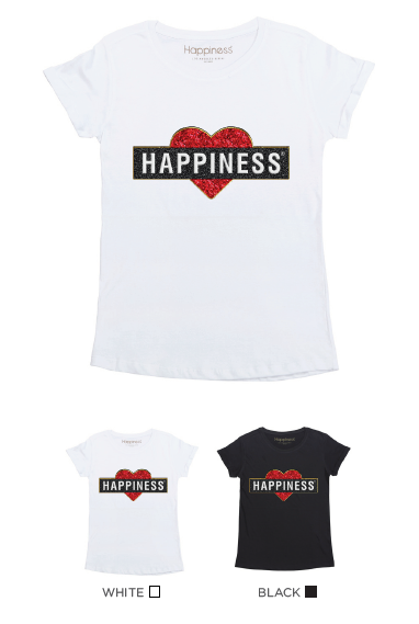 T-Shirt Bimba - Heart Happiness - Glitter - Happiness Shop Online