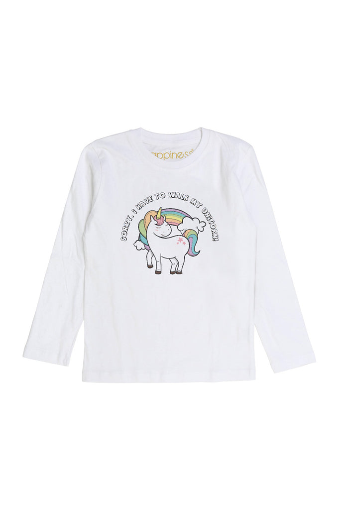 T-Shirt Long Sleeves Kids - Walk My Unicorn - Happiness Shop Online