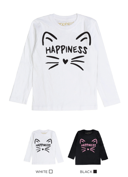 T-Shirt Long Sleeves Bimba - Cat Happiness - Laminata - Happiness Shop Online