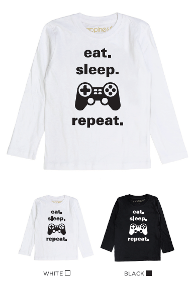 T-Shirt Long Sleeves Bimbo - Eat, Sleep. Repeat - Happiness Shop Online