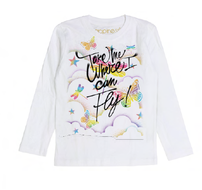 T-Shirt Long Sleeves Bimba - Take Me Where I Can Fly - Happiness Shop Online