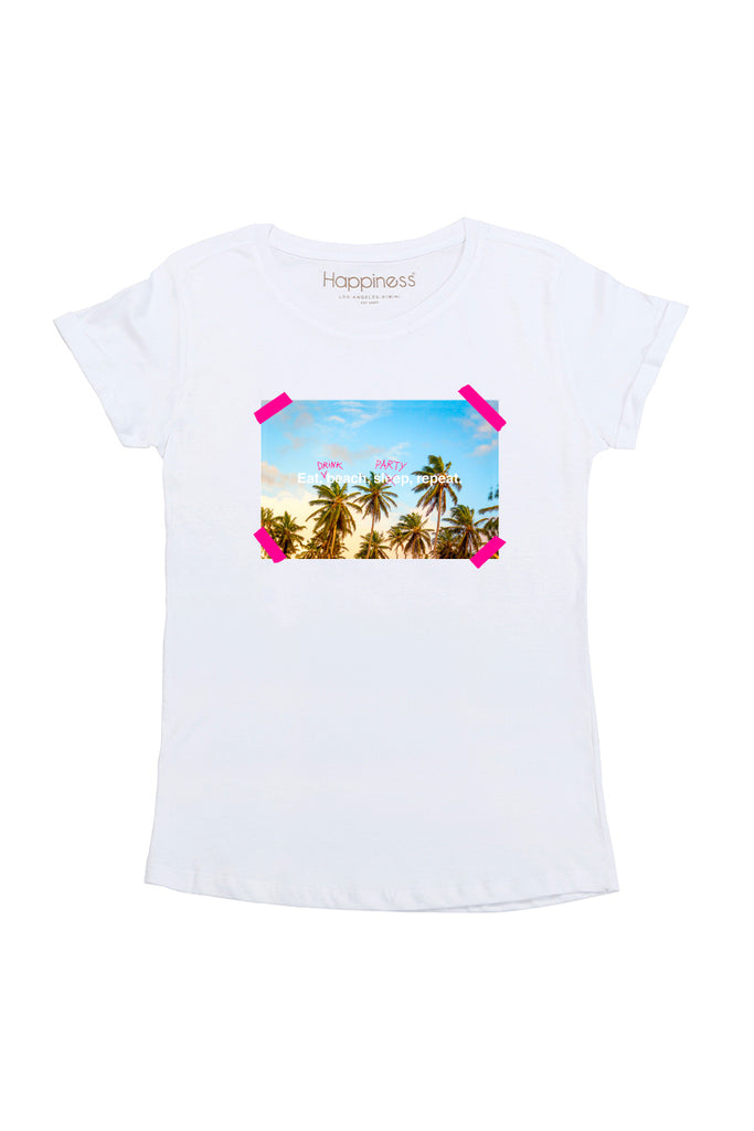 T-Shirt Donna - Eat, Drink, Repeat Happiness - Happiness Shop Online