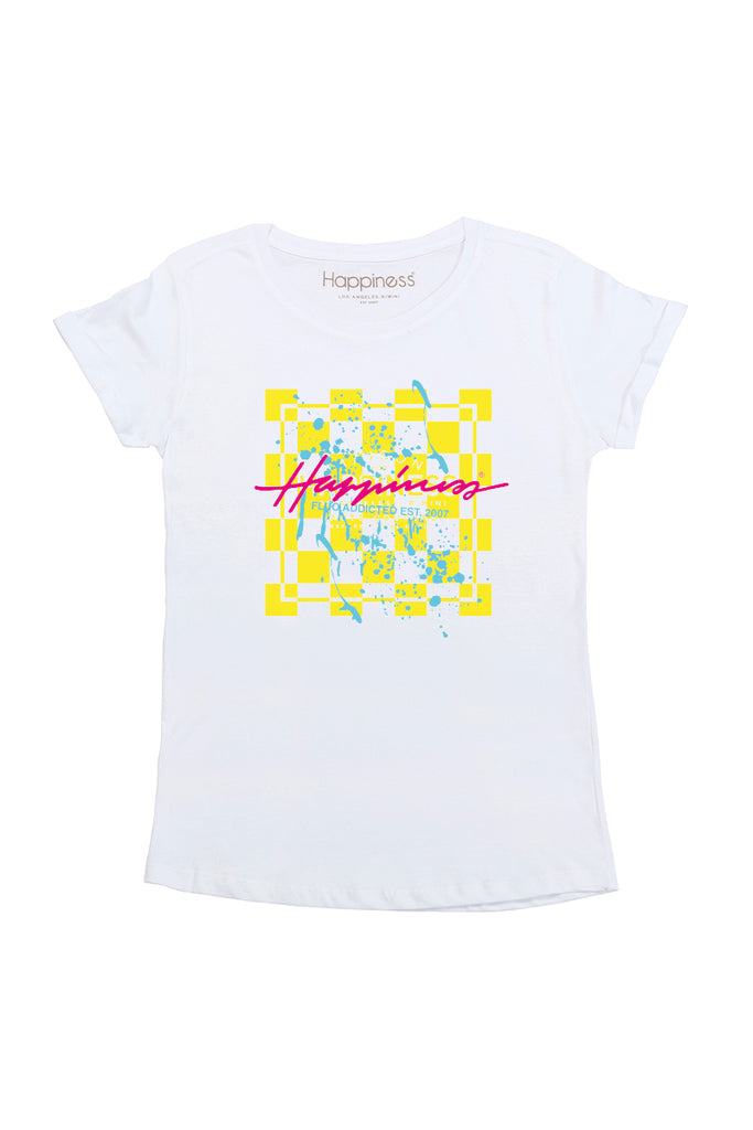 T-Shirt Donna - Quadro Scacchi Happiness - Happiness Shop Online