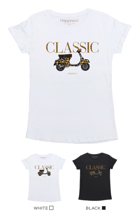 T-Shirt Donna - Classic Vespa - Glitter & Strass - Happiness Shop Online