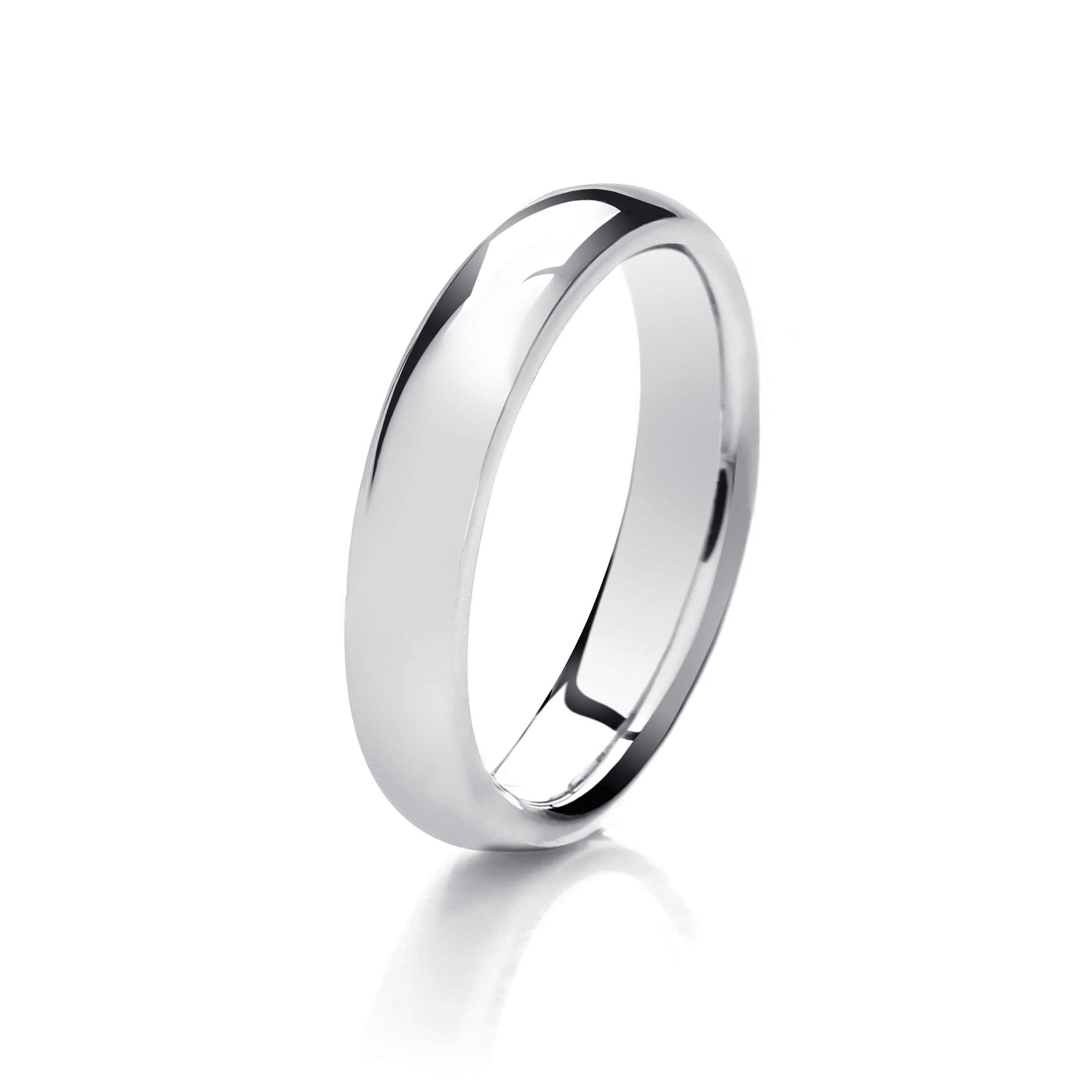 9ct White Gold 4mm Traditional Court Mens Wedding Ring