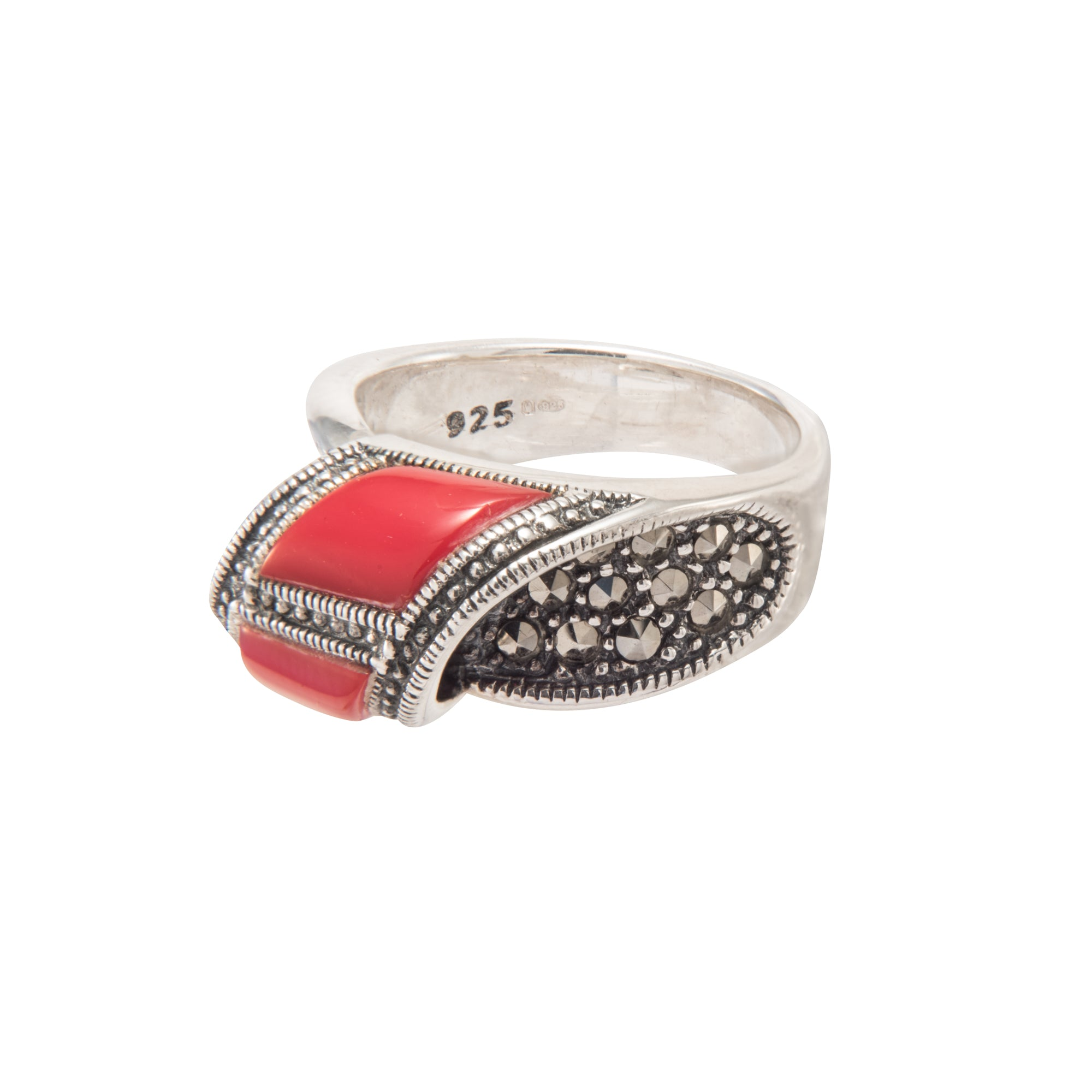 Coral Marcasite Ring