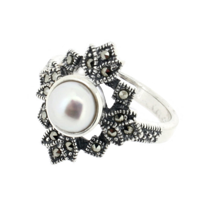 Freshwater Pearl Marcasite Ring