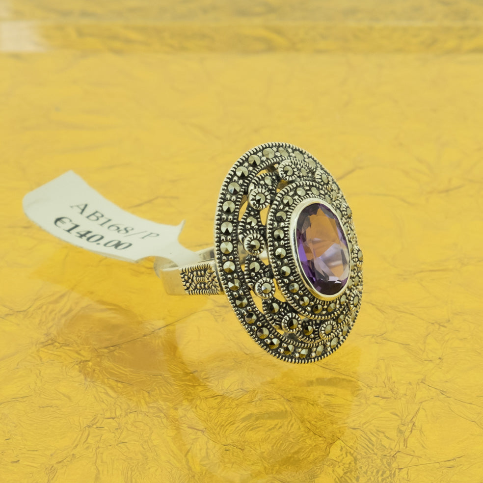 Amethyst Marcasite Ring