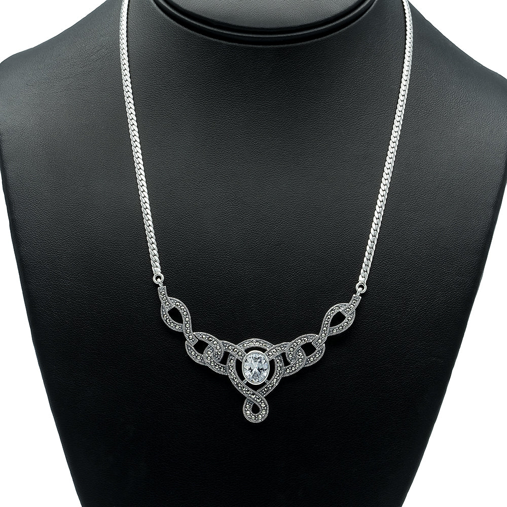 Cubic Zirconia Silver Necklace