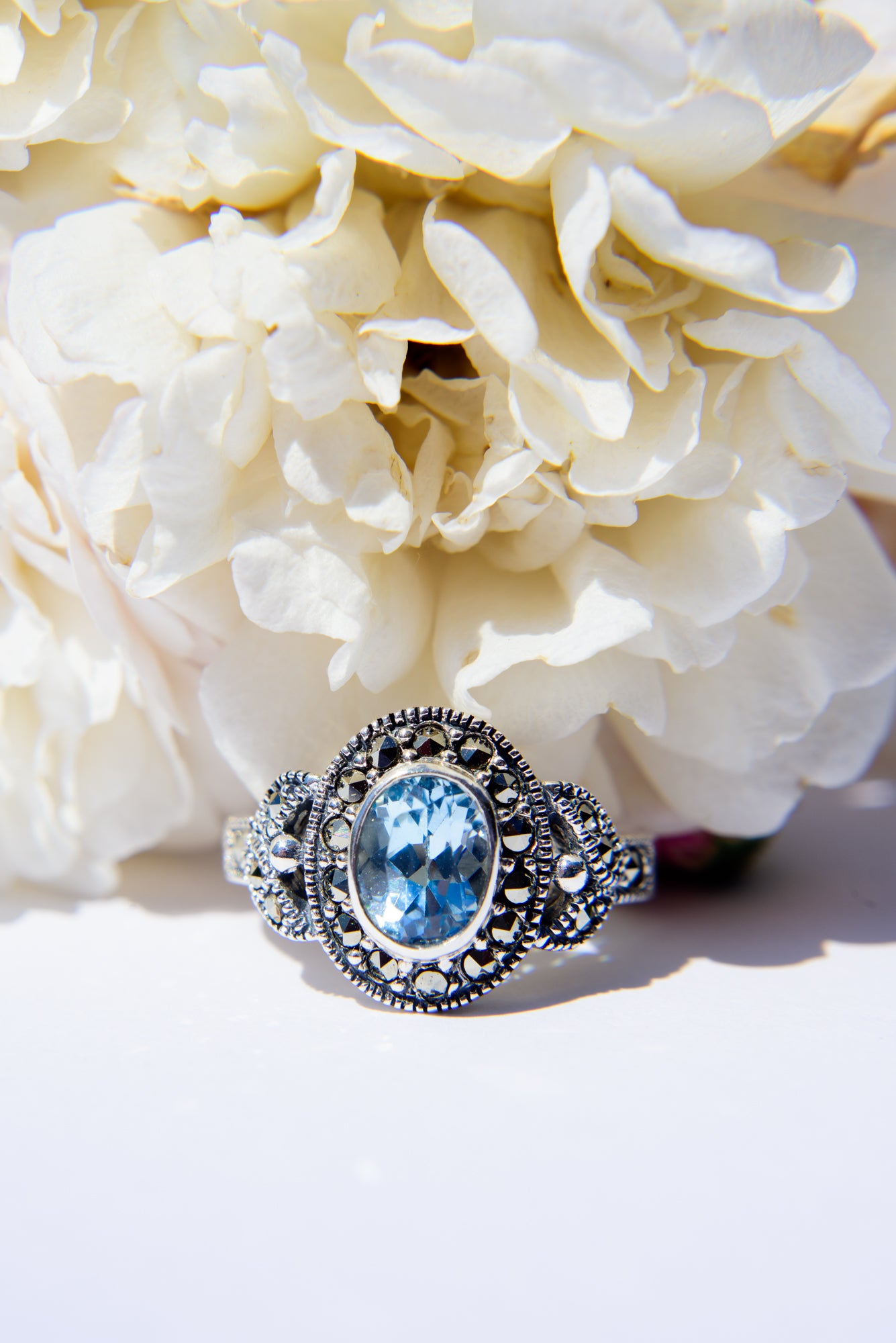 Marcasite Blue Topaz Ring
