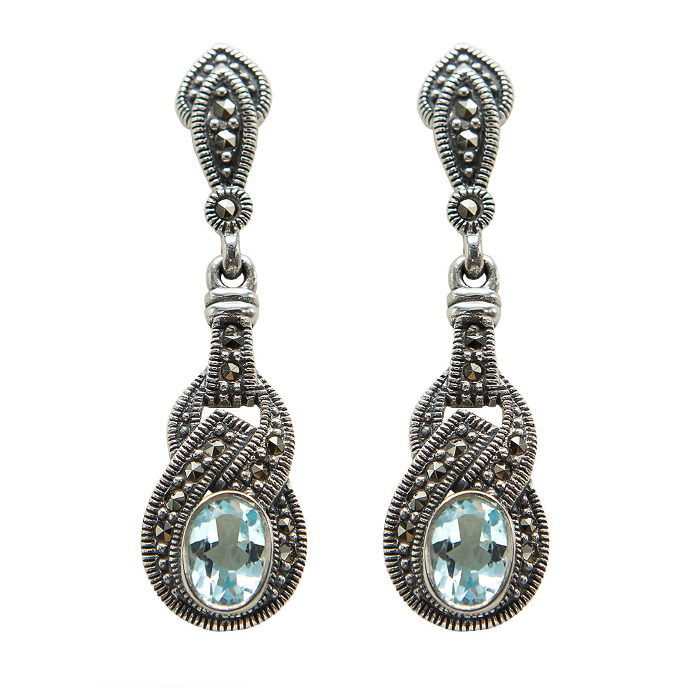 Blue Topaz & Marcasite Earrings