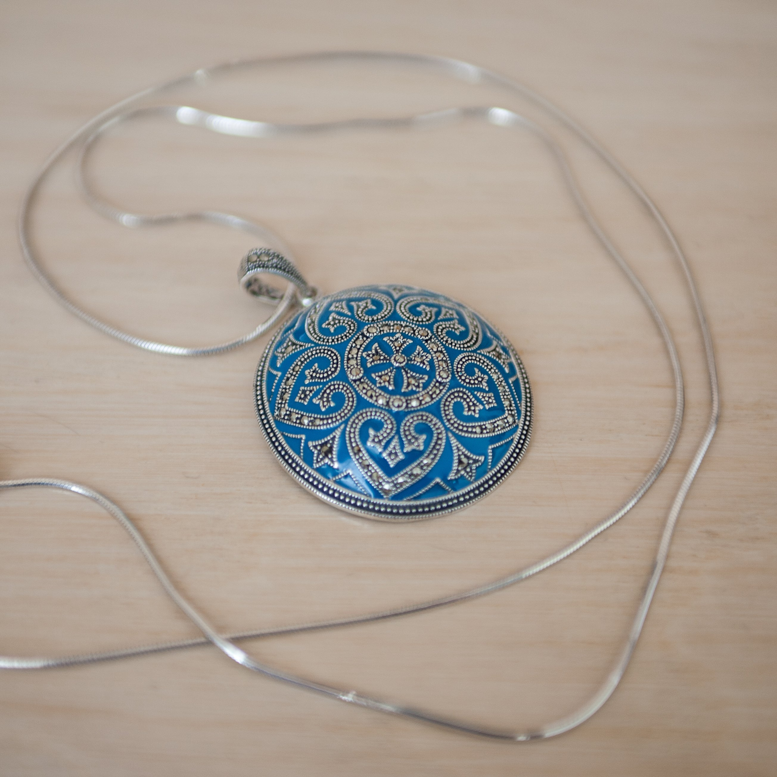 Blue Enamel Marcasite Necklace