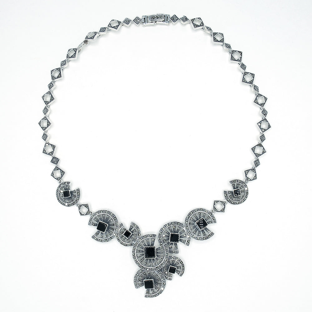 Onyx Marcasite Necklace