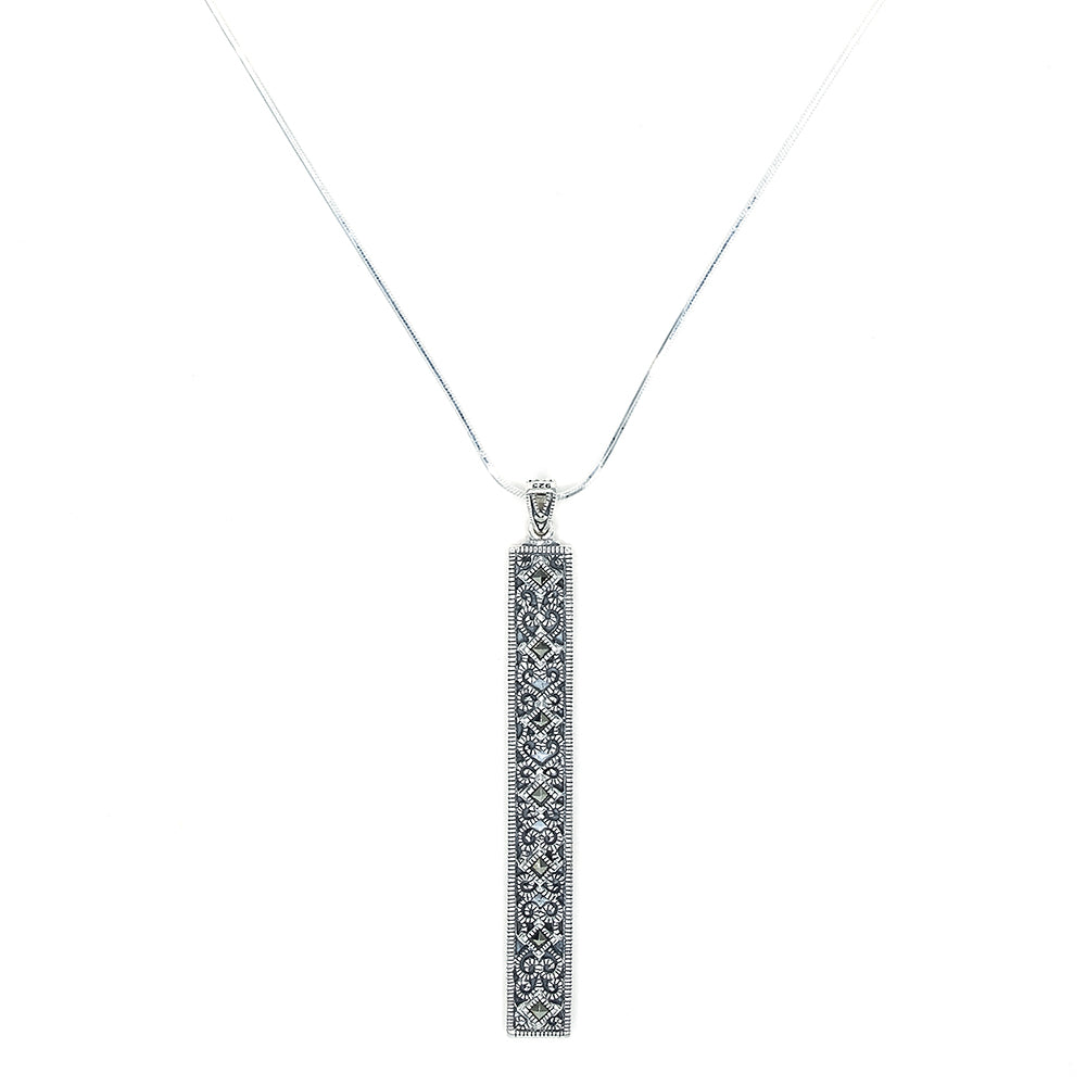 Marcasite Bar Pendant & Chain