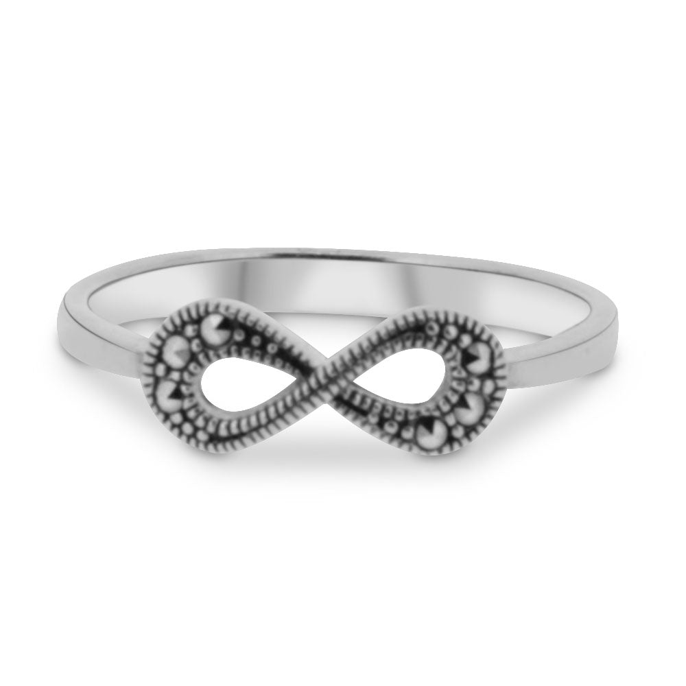Silver Marcasite Infinity Ring