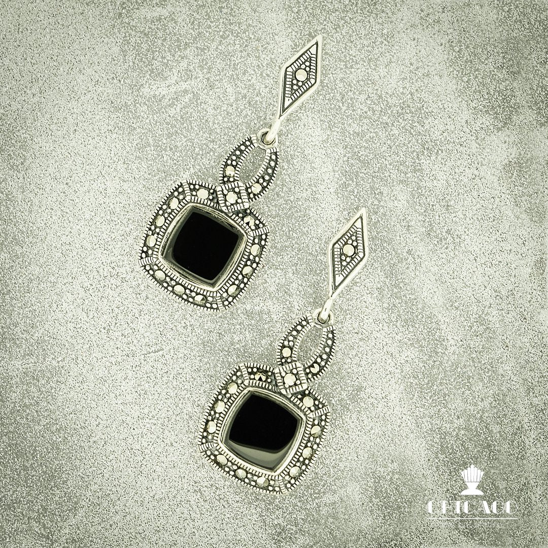 Onyx and Marcasite Drop Earrings