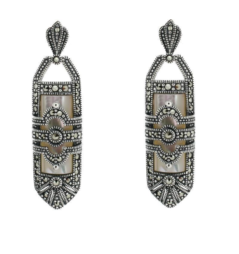 Silver Art Deco Drop Earrings