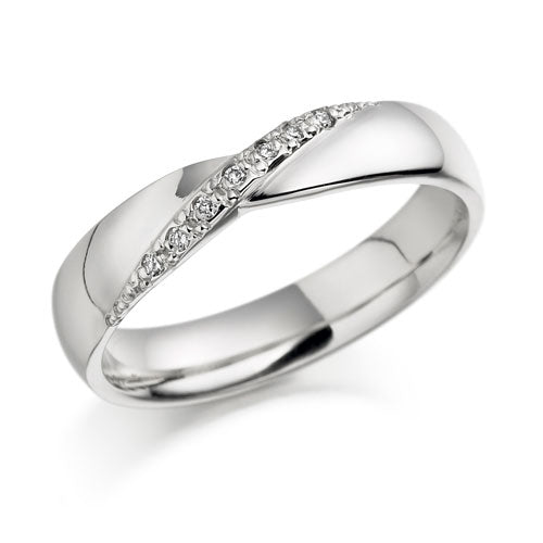 18ct White Gold Twist Design Diamond Wedding Ring AL01
