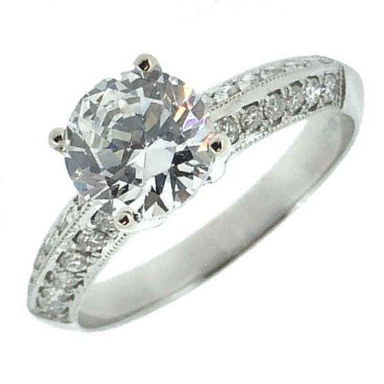 18ct White Gold 1.00ct Round Brilliant Cut Diamond with Double Row of Diamonds on Shoulders Engagement Ring JL111/N
