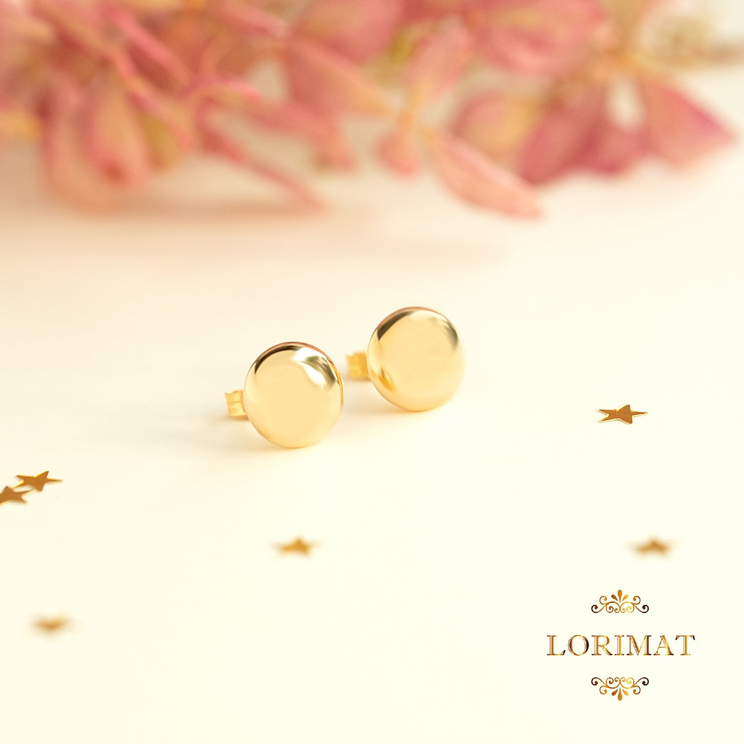 9ct Gold Button Stud Earrings