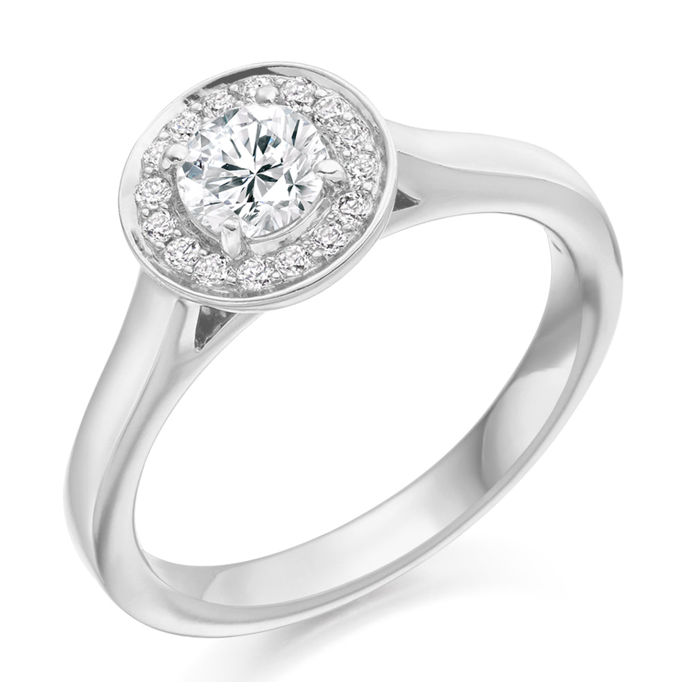 18ct White Gold 0.50ct Round Halo Diamond Engagement Ring