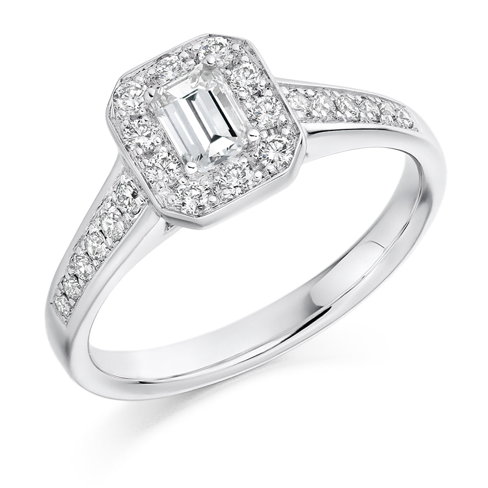 Emerald Cut Halo Engagement Ring 0.33ct - Home Try-On (€2,955)
