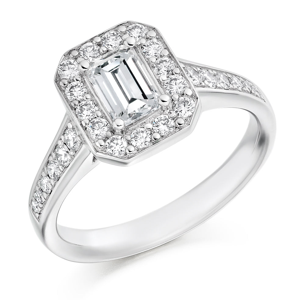 18ct White Gold 0.5ct Emerald Cut Diamond Cluster Engagement Ring