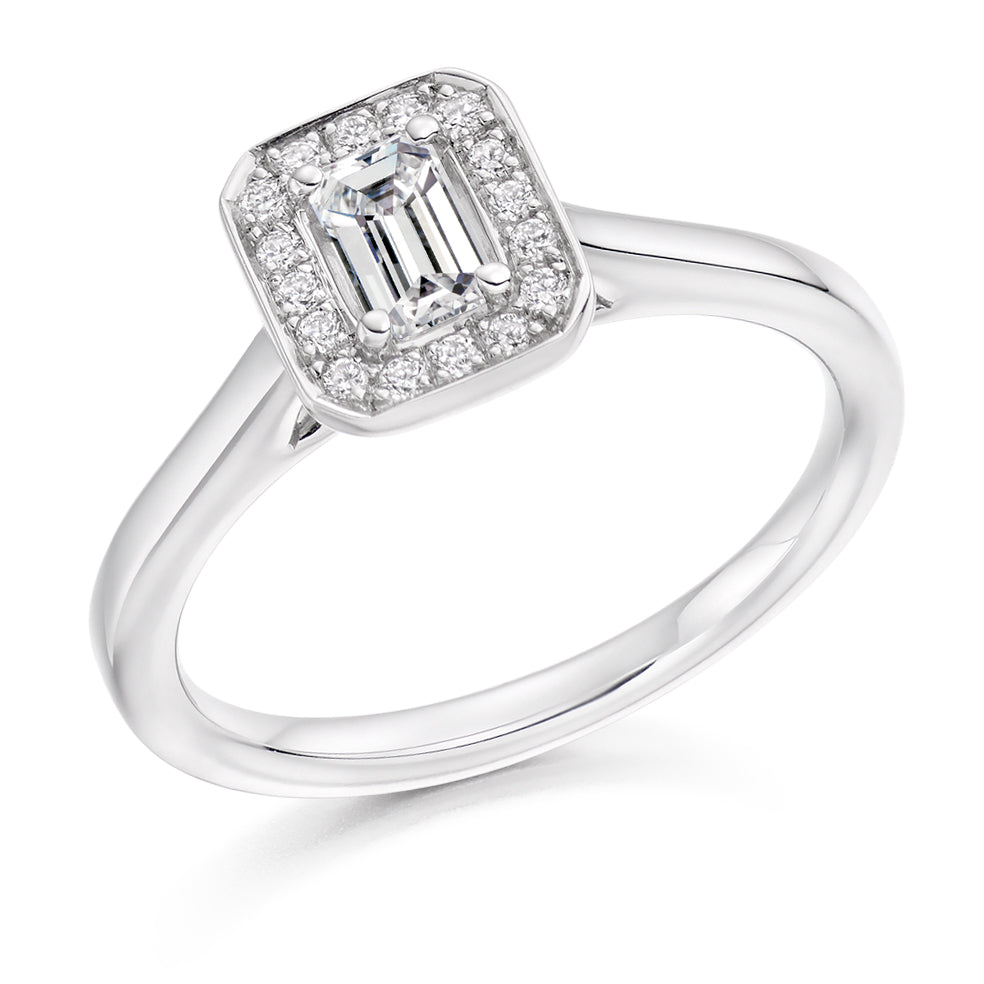 18ct White Gold 0.33ct Emerald Cut Halo Diamond Engagement Ring