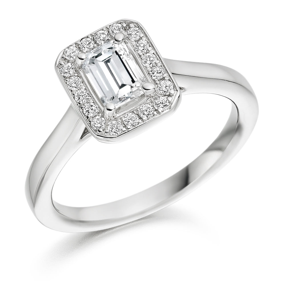 18ct White Gold 0.50ct Emerald Cut Halo Diamond Engagement Ring