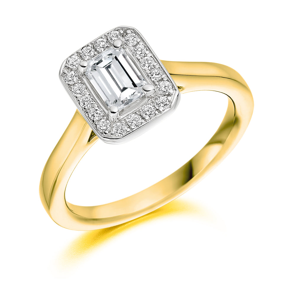18ct Yellow Gold Emerald Cut Halo Diamond Vintage Engagement Ring