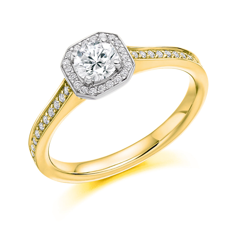 18ct Yellow Gold 0.53ct Round Brilliant Cut Diamond Halo Surround Vintage Engagement Ring