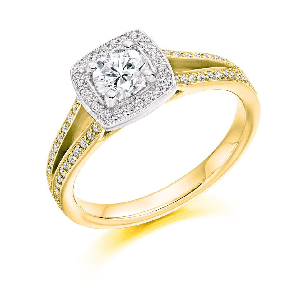 18ct Yellow Gold Round Halo Diamond Vintage Engagement Ring