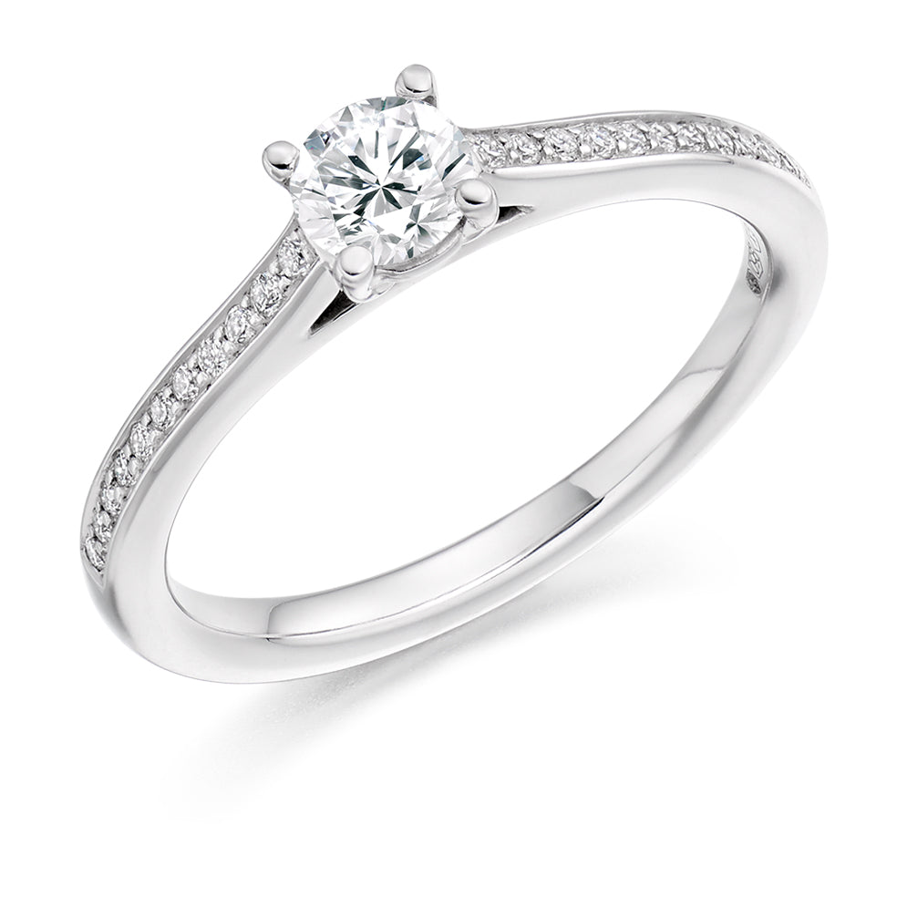 18ct White Gold 0.33ct Round Brilliant Cut Solitaire With Diamond Set Shoulders Engagement Ring