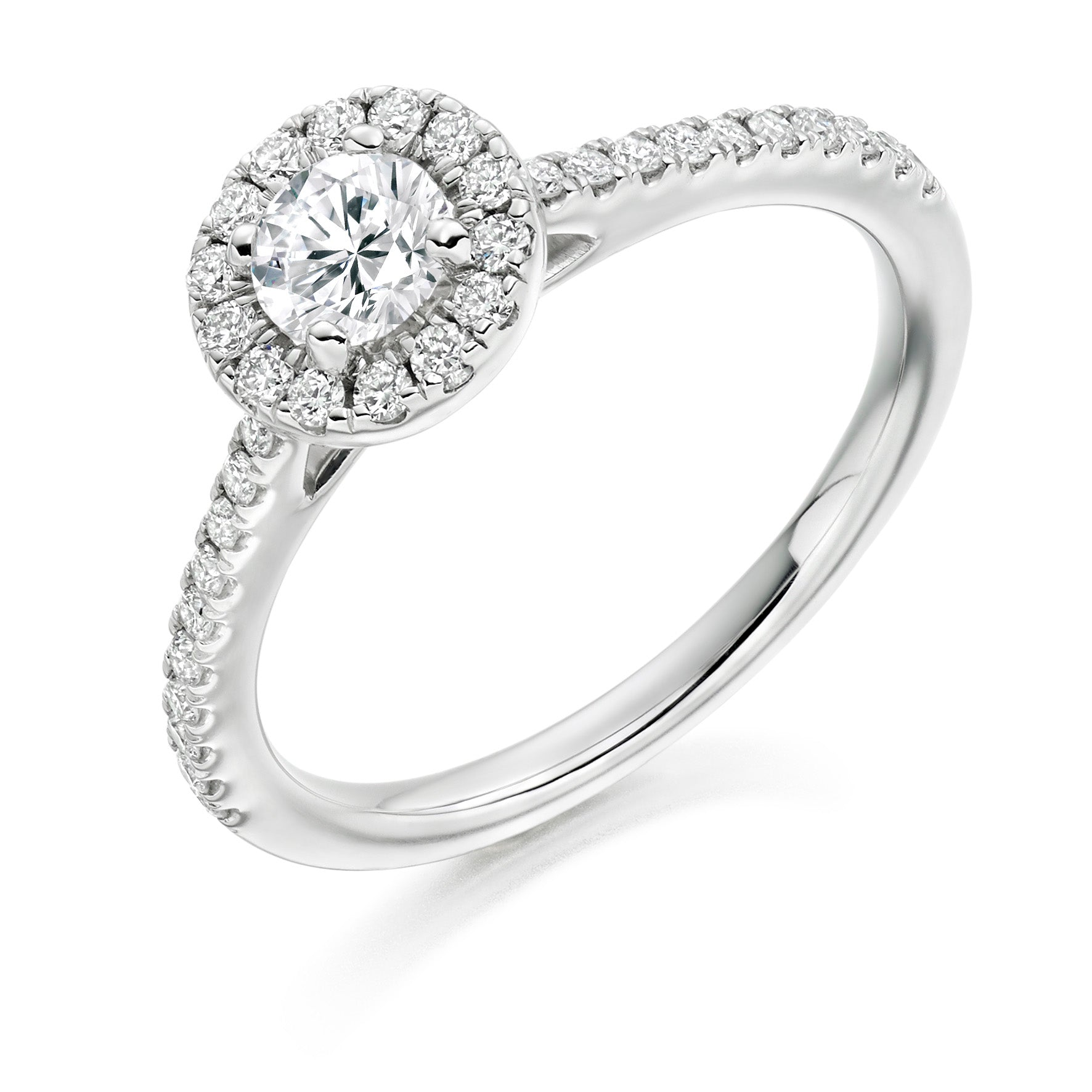 18ct White Gold 0.33ct Round Brilliant Cut Diamond Halo Surround Engagement Ring