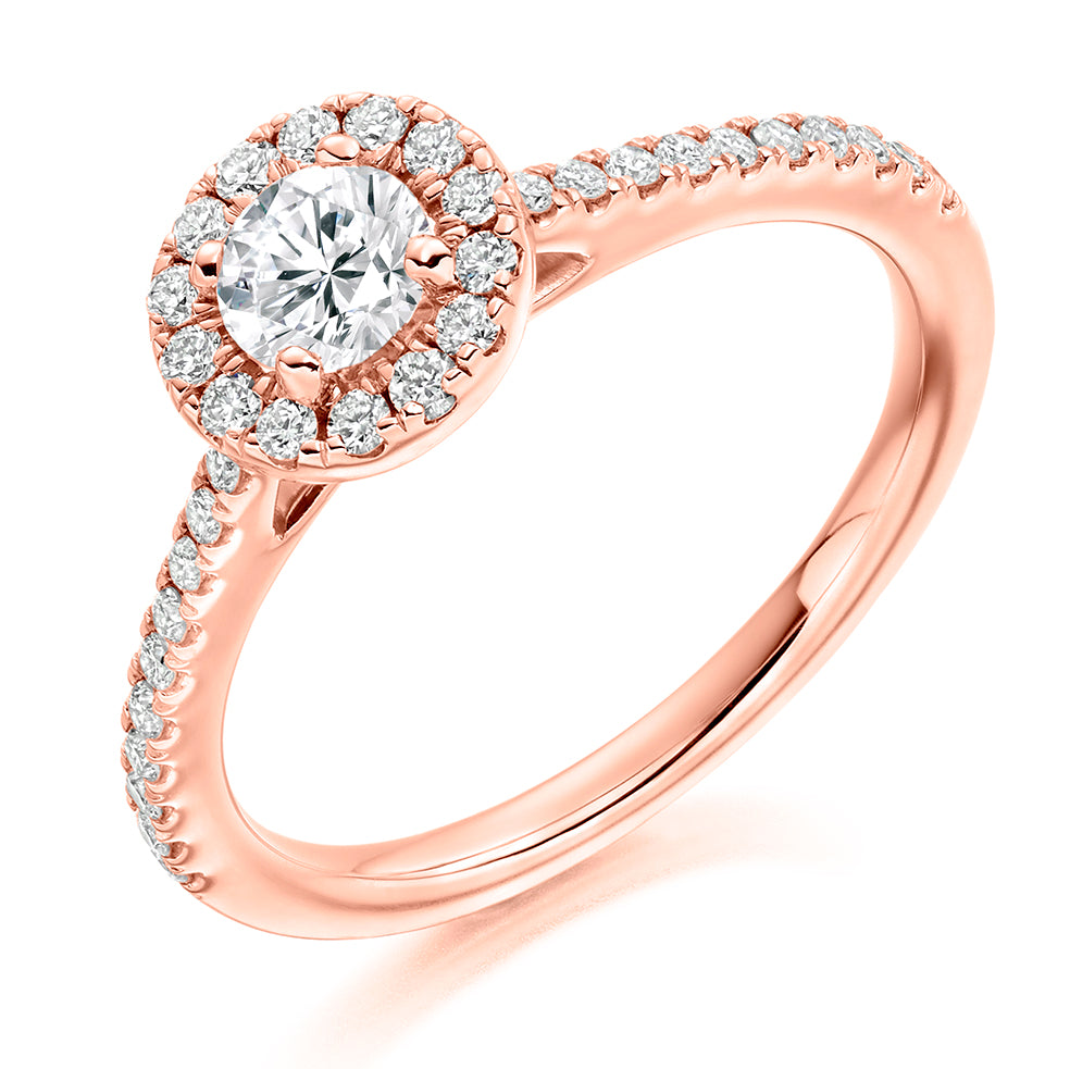 Platinum Halo With Diamond Set Shoulders Engagement Ring