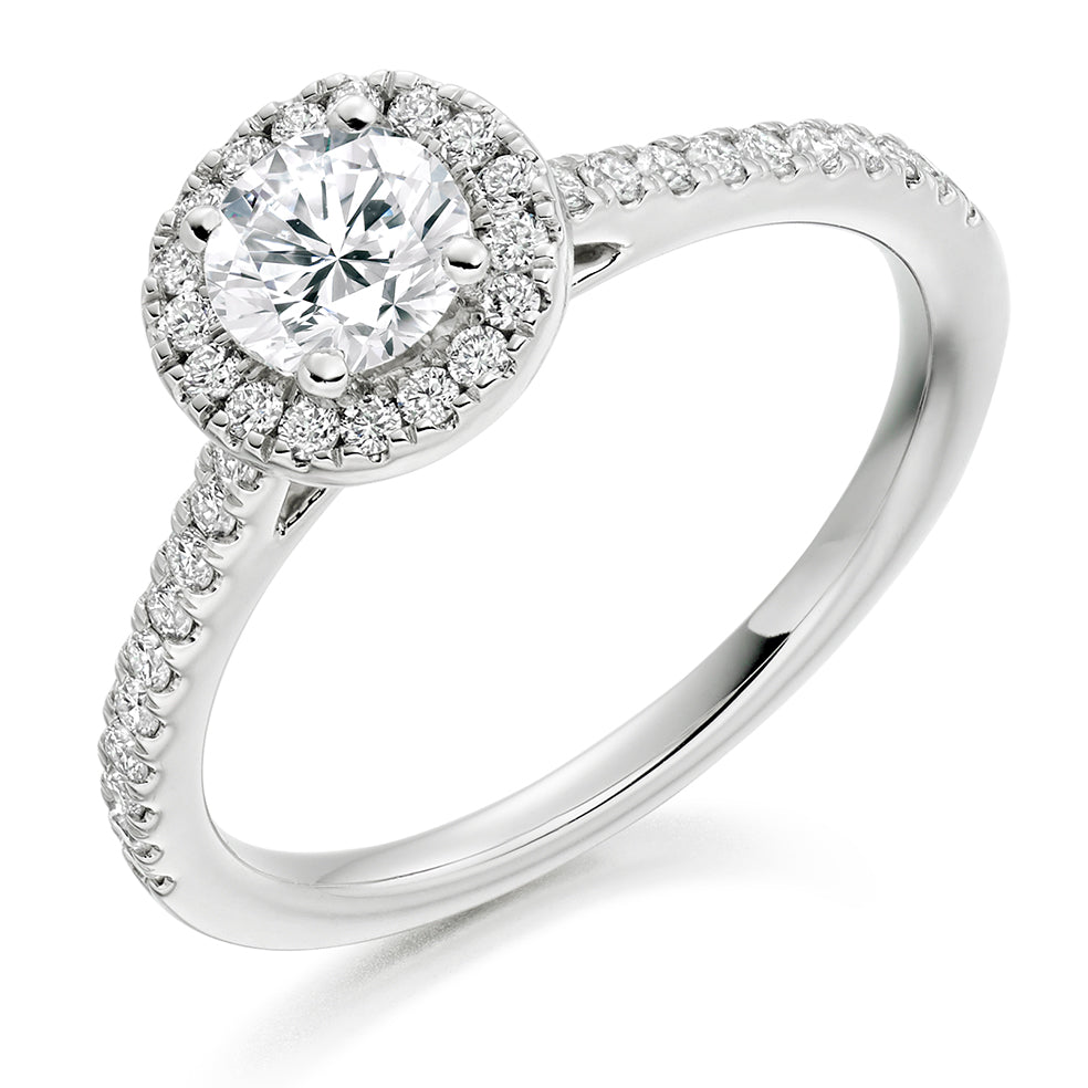 18ct White Gold 0.50ct Round Brilliant Cut Diamond Halo With Diamond Set Shoulders Engagement Ring