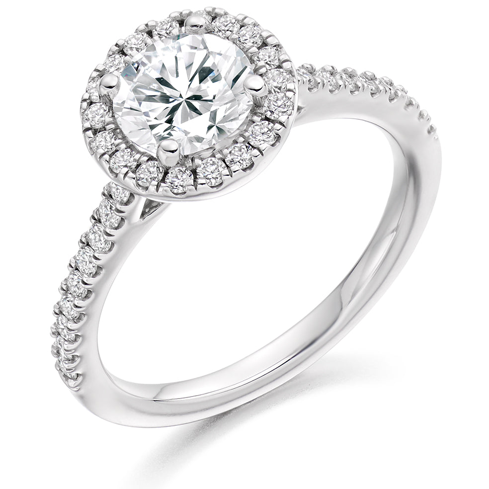 18ct White Gold 0.70ct Round Brilliant Cut Diamond Halo With Diamond Set Shoulders Engagement Ring
