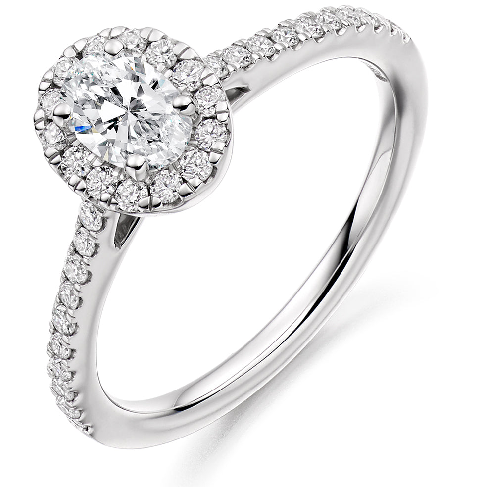 18ct White Gold 0.4ct Oval Cut Diamond Halo Surround Engagement Ring