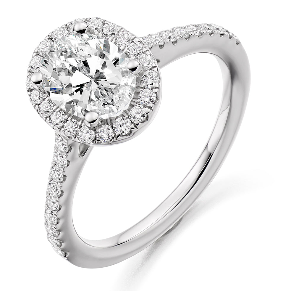 Oval Cut Halo Engagement Ring 1.00ct - Home Try-On (€8,950)