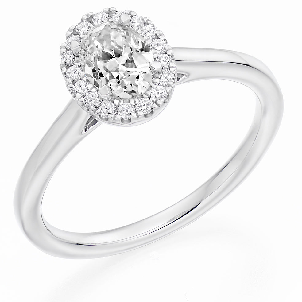 18ct White Gold 0.33ct Oval Cut Diamond Halo with Plain Shoulders Engagement Ring ENG4019W