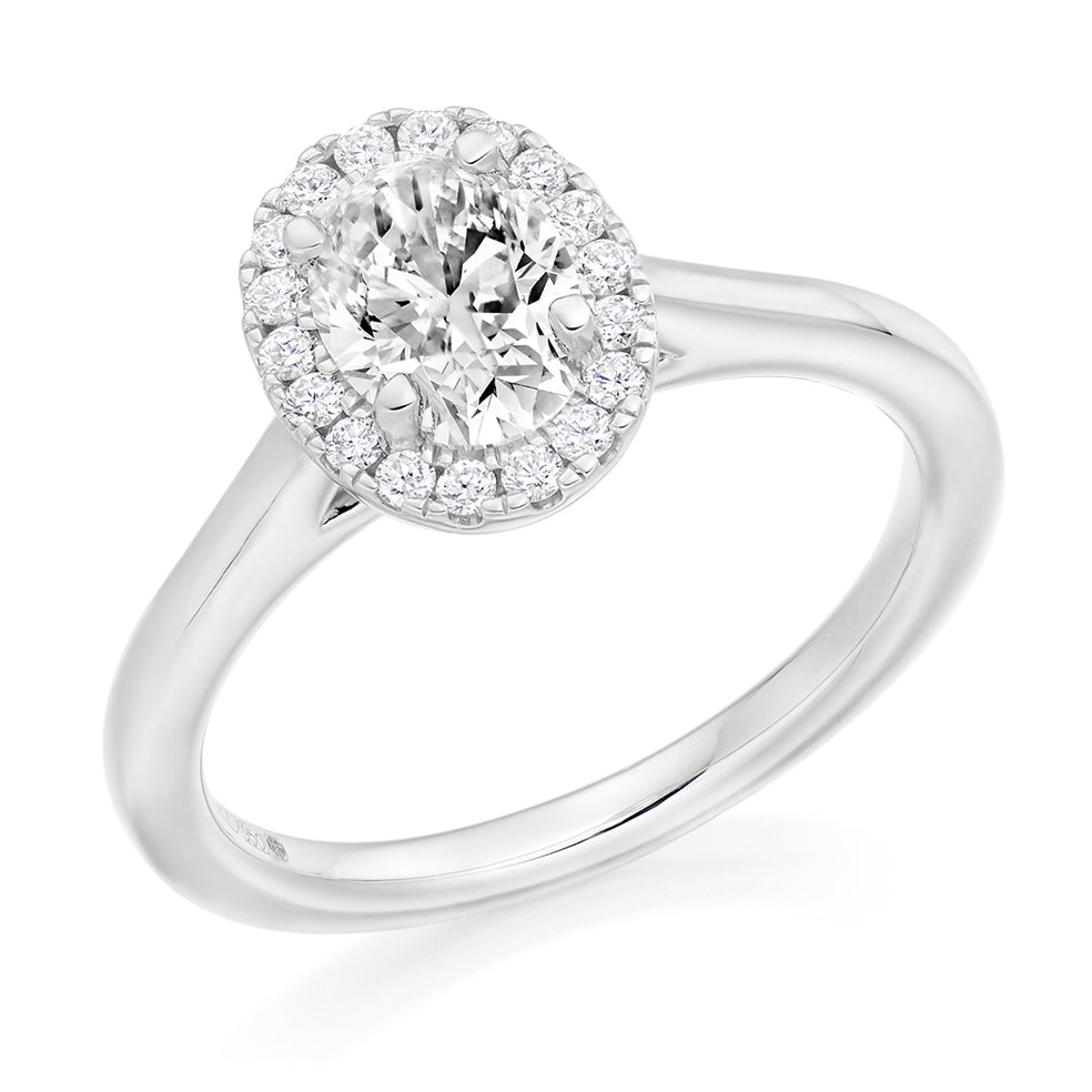 18ct White Gold 0.70ct Oval Cut Diamond Halo with Plain Shoulders Engagement Ring