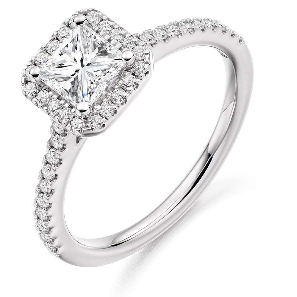 18ct White Gold 0.50ct Princess Cut Diamond Halo with Diamond Set Shoulders Engagement Ring ENG4038W