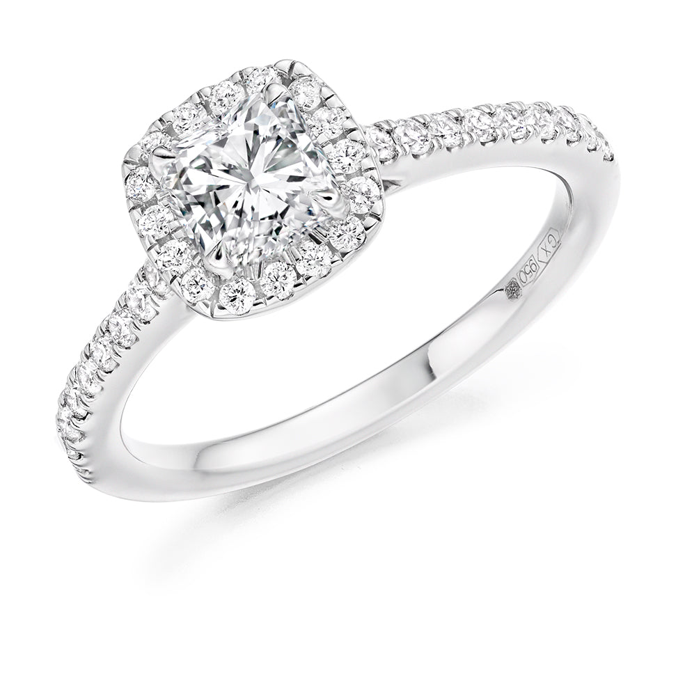 18ct White Gold 0.7ct Cushion Cut Diamond with Round Brilliant Cut Diamonds Surround Engagement Ring