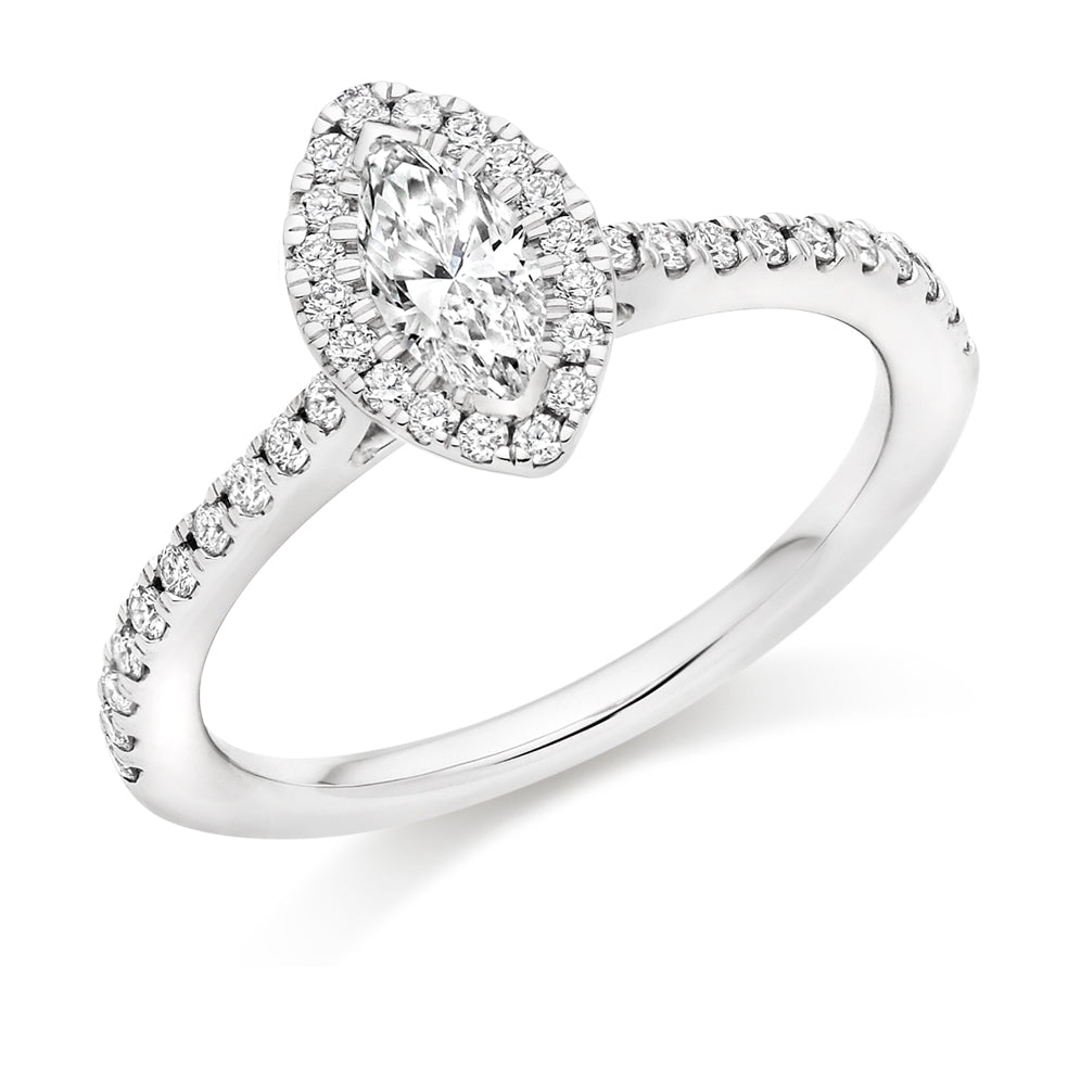 18ct White Gold 0.33ct Marquise Cut Diamond with Round Brilliant Cut Diamonds Halo Surround Engagement Ring