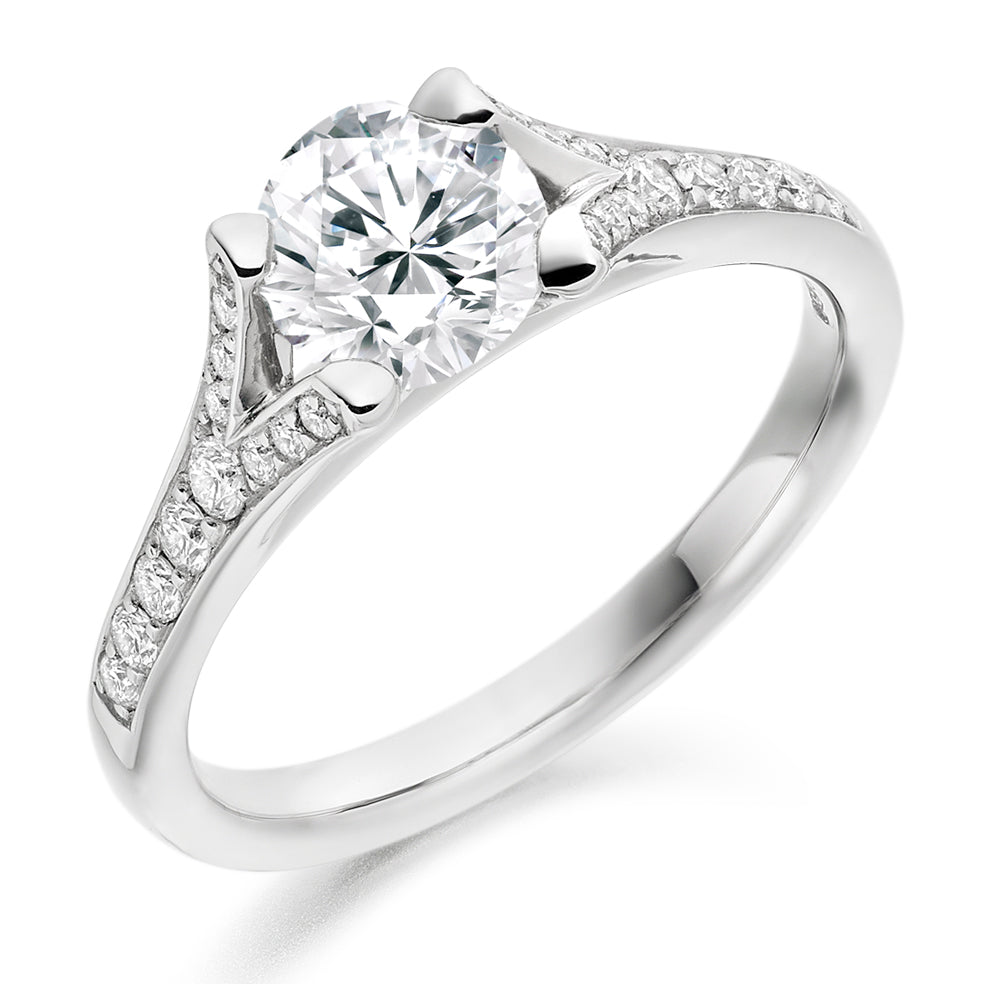 18ct White Gold 0.75ct Round Brilliant Cut Solitaire with Diamond Set Shoulders Engagement Ring