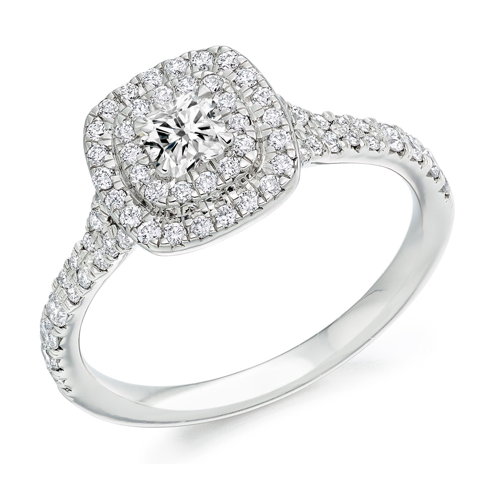 Cushion Cut Double Halo Engagement Ring 0.33ct - Home Try-On (€3,650)