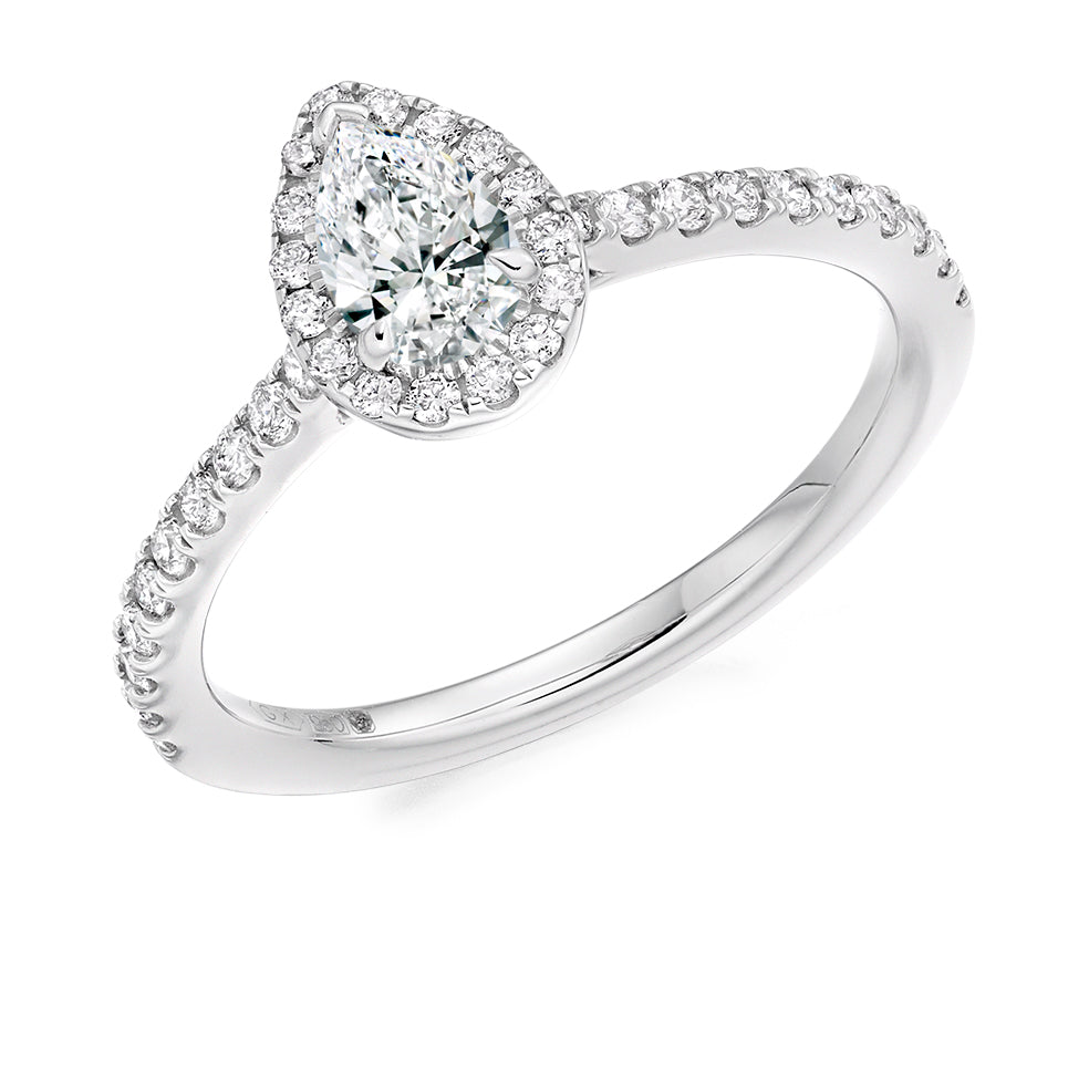18ct White Gold 0.33ct Pear Cut Diamond Round Brilliant Cut Diamonds Surround Engagement Ring